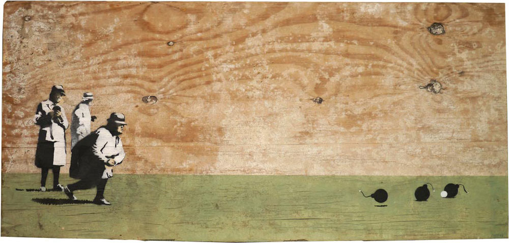 Homens jogando boliche com bombas. Pintura em tábua de madeira. Banksy.